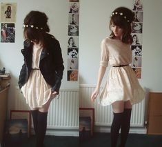 really feminine pale dress, dark belt, thick knit thigh highs, and leather jacket with soft, feminine, simple hair