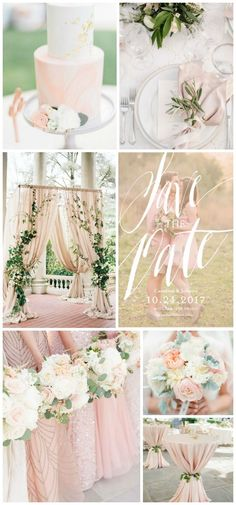 Soft greenery and blush wedding inspiration with save-the-dates