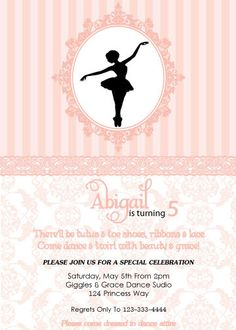 Vintage Ballerina Birthday Invite