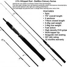Whippet Estuary Series Spinning Rod  The Whippet Estuary Series Spinning Rod utilizes the very latest in Hi-Power Carbon Fibre technologies. The ultra light, whisper thin rod features sensitivity, power and balance characteristics that provide optimum ultra light lure casting performance. The multi-tapper tip puts the user in charge when working lures, bait or fish.