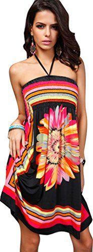"""iNewbetter Womens Baroque Floral Print Island Beach Halter Dress Short Summer Sundress (Pattern1-Black). Pattern: Colorful Floral. Size: Bust 22""""- 41"""", Length 37.4"""". Fashion and sexy short Dress ideal for day to night time, Casual Dress,Beach Dress. It comes with relaxed fit supports total freedom of movement. Package Content: 1 x Dress (the accessories are not included)."""