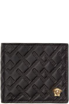 Versace - Black Logo Embossed Bifold Wallet
