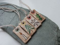 Small Ceramic Yule Christmas Solstice Tags or by RowanSongCrafts