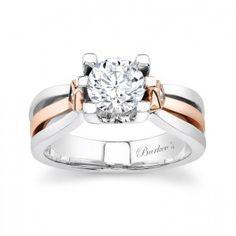 White & Rose Gold Engagement Ring - 6682LW