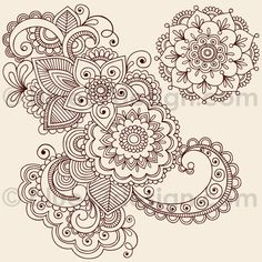 Mehndi Henna Tattoo Paisley Doodles Illustration by blue67design by blue67design, via Flickr
