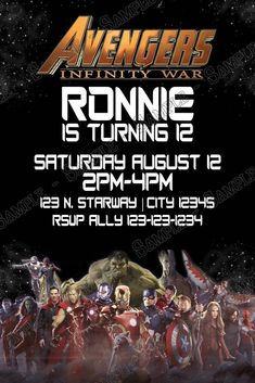 Novel Concept Designs - Avengers - Infinity War - Birthday Party -Invitation