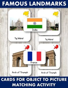 Printables for object to picture matching activity with Famous Landmarks 3 Part cards for toddlers and preschoolers. Montessori Activities, Classroom Activities, Multicultural Activities, Montessori Kindergarten, Montessori Homeschool, Classroom Ideas, Action Cards, World Crafts, Vocabulary Cards