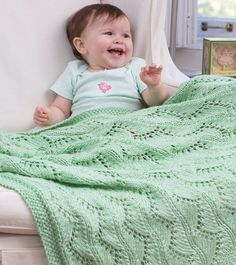 Lace Chevrons Baby Blanket | This detailed knit baby blanket will be a treasured keepsake for years to come.