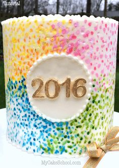 Happy 2016! Fun design & Quick free cake video tutorial for New Year's Eve by My Cake School!