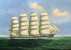 "Ship Portrait of the British four-masted Ship ""Liverpool II"" 1898, the full-rigged ship at calm sea - Lai Fong"