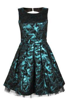 Metallic Teal Annie Brocaide Leopard Open Back Dress