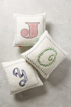 A pillow and vintage inspired monogram. Hard to get any better than that! Embroidered Monogram Pillow #anthropologie