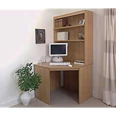 Corner Computer Desk Home Office UK Finish: Teak White Corner Desk, Wood Corner Desk, Corner Writing Desk, Wall Desk, Small Corner, Corner Wall, Office Storage Furniture, Home Office Furniture Sets, New Furniture