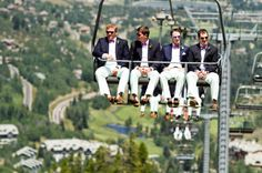 That's ONE way to get to the wedding! Photography by inphotography.net    I would love to have a wedding on top of a mountain in the summer, and all the guests ride the chair lift to the top <3