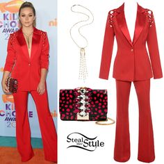 Brec Bassinger arrived at the Nickelodeon Kids' Choice Awards last night wearing a House of CB Nayeli Shoulder Lace-Up Trouser Suit ($209.00), a Gedebe Embellished Clutch Bag ($540.00 – wrong color) and the Eddie Borgo Glint Pendant Necklace ($300.00).