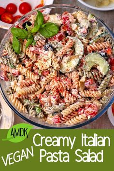 Amazing, creamy, and vegan - this Italian pasta salad has it all! Veggies, such as cucumber, tomatoes, aritchokes, and olives, plus an amazing creamy Italian dressing. Pasta Recipes, Salad Recipes, Vegan Recipes, Italian Diet, Pasta Salad Italian, Plant Based Eating, Vegan Pasta, Side Salad, Whole Food Recipes