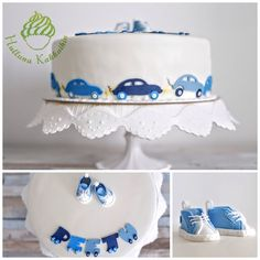 Baby boys first cake. Decorations are all edible ➡️ fondant cars around the cake + baby shoes and name on top