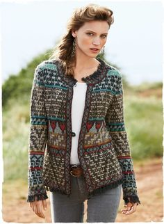 Motifs from a tribal kilim are knit into a timelessly chic jacket. Hand-loomed in a textural mix of bright jewel tones and sophisticated neutrals, it's detailed with more than a hint of French flair: a contrast patterned border and fabulous fringe trim at the round neck, cuffs and hem. Single-button closure; alpaca (59%), baby alpaca (28%), wool (11%) and nylon (2%).