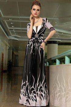 Slim col haut de gamme robe de soirée banquet noir profond V