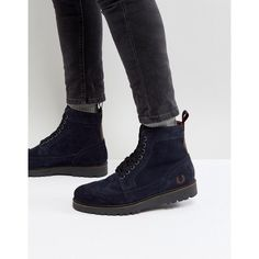 Fred Perry Northgate Suede Boots in Navy ($210) ❤ liked on Polyvore featuring men's fashion, men's shoes, men's boots, navy, mens navy blue boots, mens sport shoes, mens lace up shoes, fred perry mens shoes and mens navy blue suede shoes