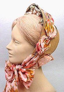 Straw bonnet-- love that wild, printed ribbon!