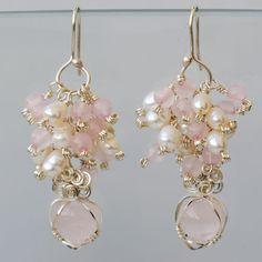 rose quartz heart earrings by Dee Caria, via Flickr