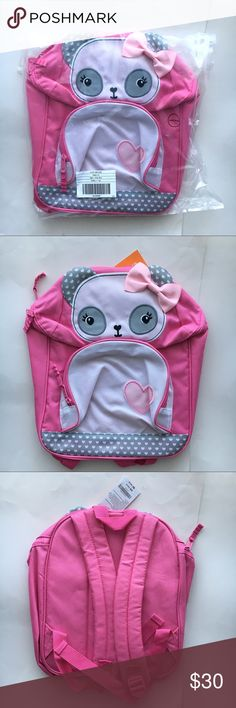 Pink panda Backpack bag -100% Polyester -Adjustable straps -Easy grip zipper pull tabs -Approximately 13.5 x 10 x 4 inches Gymboree Accessories Bags