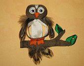 "NEW ""OWL BIRD"" Girls Ribbon Hairbow Clip Bow Sculpture Tree Forest Birdy Hoot"