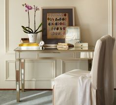 "Park Mirrored Desk | Pottery Barn  $599 + 75 for shipping  48"" wide x 22"" deep x 28"" high"