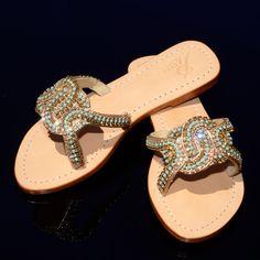 8549a430b05 Flat Sandals - Genuine High Grade Leather - Swarovski type Bohemian  crystals by Preciosa -