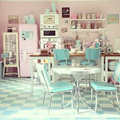 10 Honest Tricks: Vintage Home Decor Retro Kitchen Dining modern vintage home decor laundry rooms.Vintage Home Decor Living Room House Tours vintage home decor industrial rustic.Vintage Home Decor Ideas Shelves. American Diner Kitchen, American Kitchen Design, Deco Pastel, Pastel Candy, Pastel Pink, Pastel Colours, Pink Blue, Pink White, Yellow