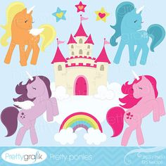 New set pretty ponies features 4 unicorns with and without wings