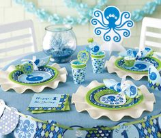 Preppy Boy Ocean Party Supplies - Nautical Ocean Octopus and Whale Birthday Decoration Ideas from http://www.birthdayinabox.com/party-themes/boxbuilder.asp?dept_id=534