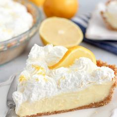 Lemon Cream Pie - A smooth and creamy pie with fresh lemon filling and whipped cream in a buttery graham cracker crust. #pie #pies #dessert #lemon #whippedcream #grahamcrackers