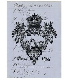 Bird Print on Antique BLUE Ledger Page by TheDecoratedHouse