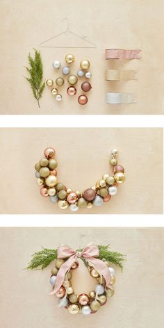 How to create a Christmas ball wreath in less than an hour / Comment faire une c. - How to create a Christmas ball wreath in less than an hour / Comment faire une couronne de boules e - Noel Christmas, All Things Christmas, Winter Christmas, Christmas Ornaments, Christmas Ideas, Ball Ornaments, Christmas Recipes, Ornaments Ideas, Wood Ornaments