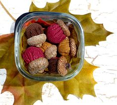 Fall Acorns  Set of 13 in Beautiful Corduroy by CreationsByAngel, $15.00