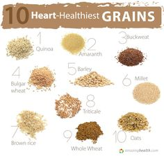 Heart Healthiest Grains.   Lists of best food for your artery unclogging diet, as chosen by Dr. Stoy Proctor, nutritionist with the General Conference of Seventh-day Adventists: