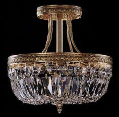 2 Light Flush Ceiling Crystal Basket Chandelier Brass Finish