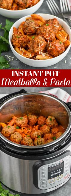 This Instant Pot Meatballs and Pasta Recipe is one that has been asked for by so many people. This is such a great easy dinner recipe that can be made with as few as FOUR ingredients! And one of them is my easy homemade spaghetti sauce recipe, so you kno Instant Pot Pasta Recipe, Instant Pot Dinner Recipes, Easy Dinner Recipes, Easy Meals, Easy Pasta Recipes, Baby Food Recipes, Crockpot Recipes, Pasta Ideas, Ninja Recipes