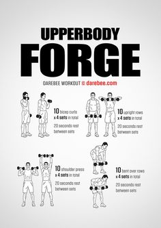Upper Body and Abs Workout This upper body workout is no joke! It's easily modified to most fitness levels and it's a great challenge for your upper body strength and your overall coordination. Gym Workout Tips, Dumbbell Workout, At Home Workouts, Workout Abs, Kettlebell, Darebee, Workout Posters, Strength Workout, Bodybuilding Workouts