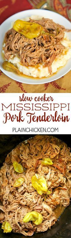 Slow Cooker Mississippi Pork Tenderloin - only 5 ingredients! Pork, Ranch, Au Jus, butter and pepperonicni peppers. This is THE BEST pork tenderloin I've ever eaten!! The flavor is AMAZING!! Serve over grits, potatoes, rice or noodles. Also great on a bun. YUM!