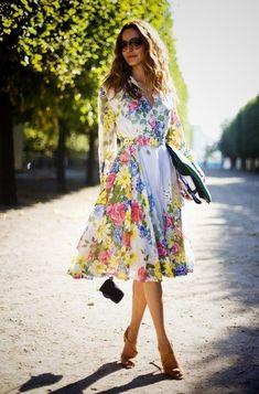 pretty multicolored flowers dress   Fashion Beauty MIX