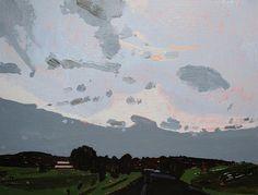 Black Road Out Original Summer Landscape Painting on Panel