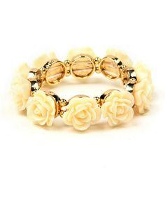 Look what I found on #zulily! Gold & Ivory Rose Stretch Bracelet by Amrita Singh #zulilyfinds