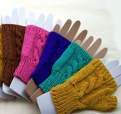 Cable Knit Fingerless Mittens for Women or Teens. Choice of colors: pink, purple, brown. mustard.