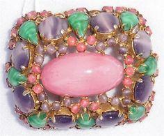 Vintage-Schreiner-New-York-Pink-Purple-amp-Green-Stones-Brooch-Pin-Pendant