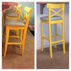 ksuhak ikea hack 3 bar stools painted - Ikea Bar Stools