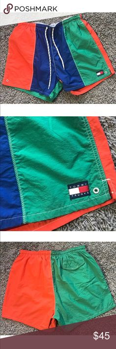 """Tommy Hilfiger multi color swim shorts trunks vtg Size: Large  In great condition, ready to wear form!!  Discontinued trunks by Tommy Hilfiger!! Get them before there gone, super rare to find.  Has 2 front pockets and 1 velcro pocket. Waist adjustable strings. Multi color way with the tommy trunks logo on left leg bottom corner.   Approximate measurements laying flat unstretched;   Inseam: 4.65""""  Waist:""""15.25""""  Full length: 15.25"""" Tommy Hilfiger Swim Board Shorts"""