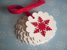 Classic Christmas with a Twist snowflake tags by papertreats